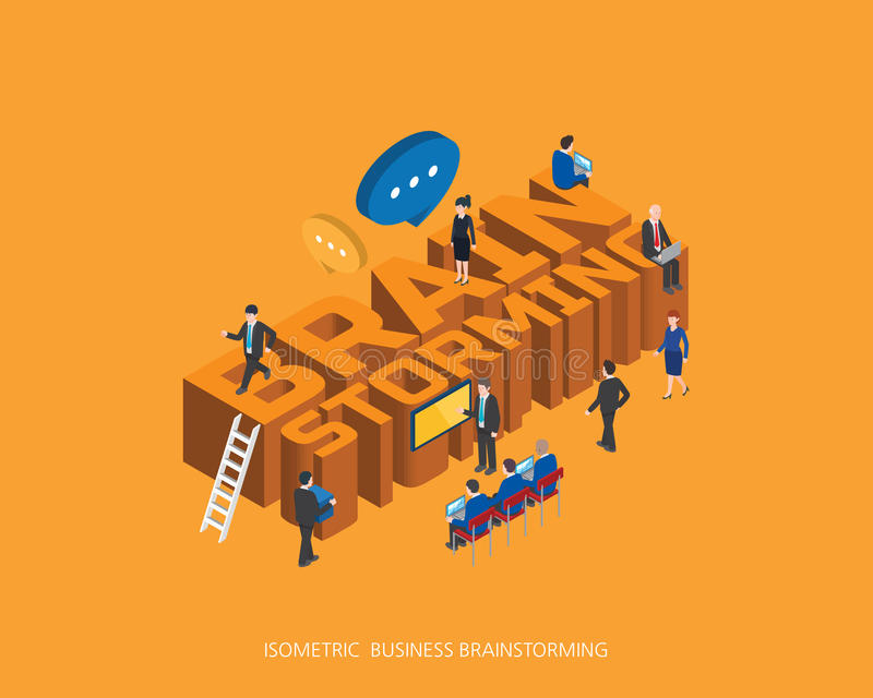 Flat 3d isometric vector illustration brain storming concept design, Abstract urban modern style, high quality business series stock illustration