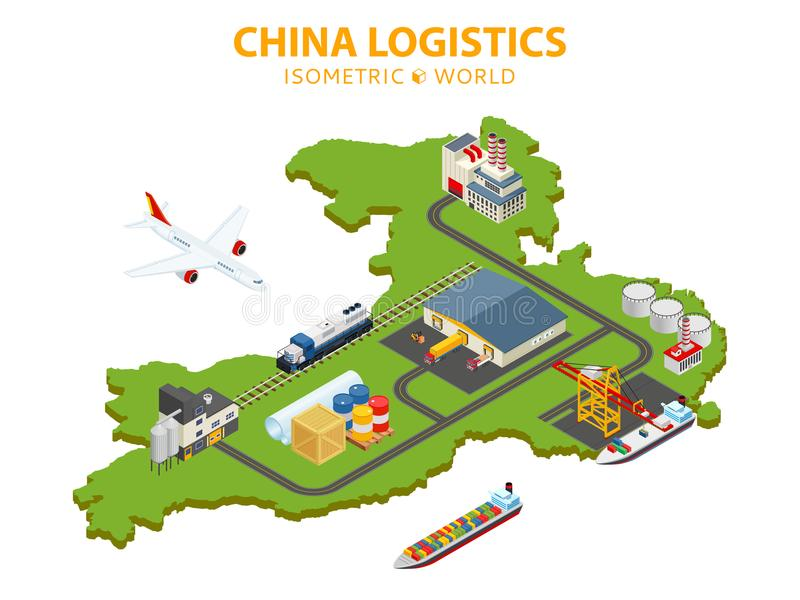 Flat 3d isometric vector illustration. Global shipping and logistics infographic. Distribution of goods all over the. World with air cargo, railway, trucks and royalty free illustration