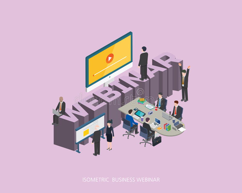 Flat 3d isometric vector illustration webinar concept design, Abstract urban modern style, high quality business series royalty free illustration