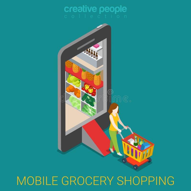 Flat 3d isometric vector shopping e-commerce online store vector illustration