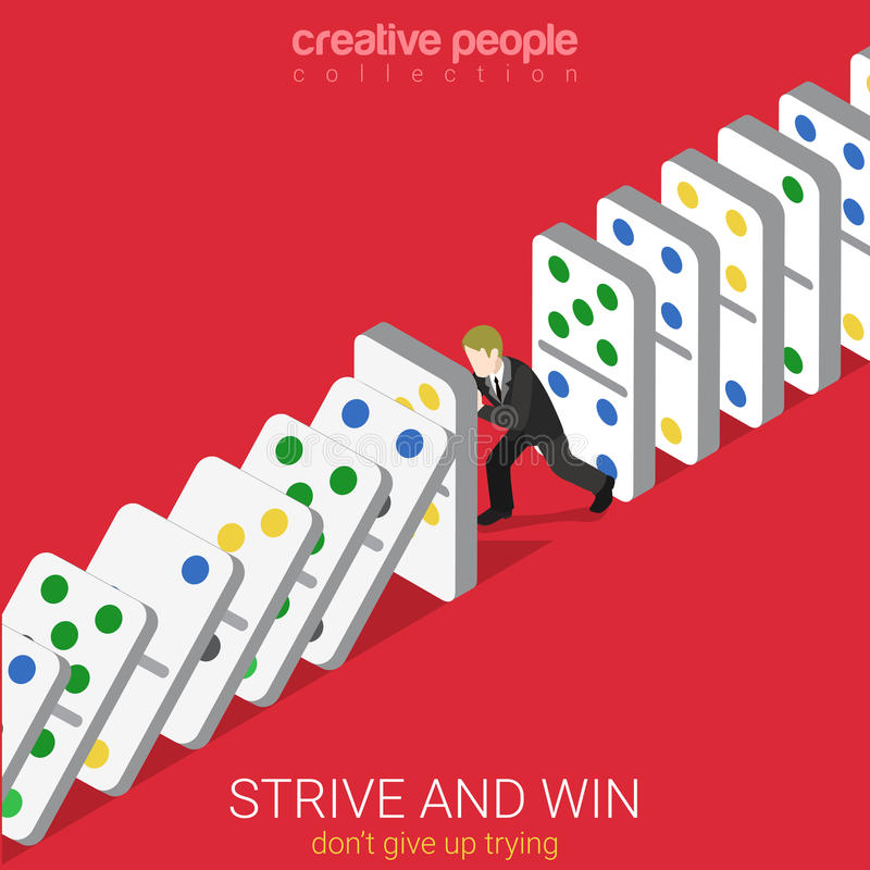 Flat 3d isometric vector strive win not give up trying domino. Flat 3d isometric style strive and win do not give up trying business concept web infographics stock illustration