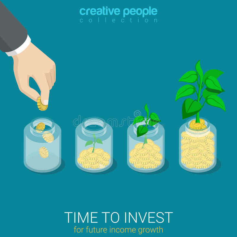 Flat 3d isometric vector time to invest grow business start up royalty free illustration