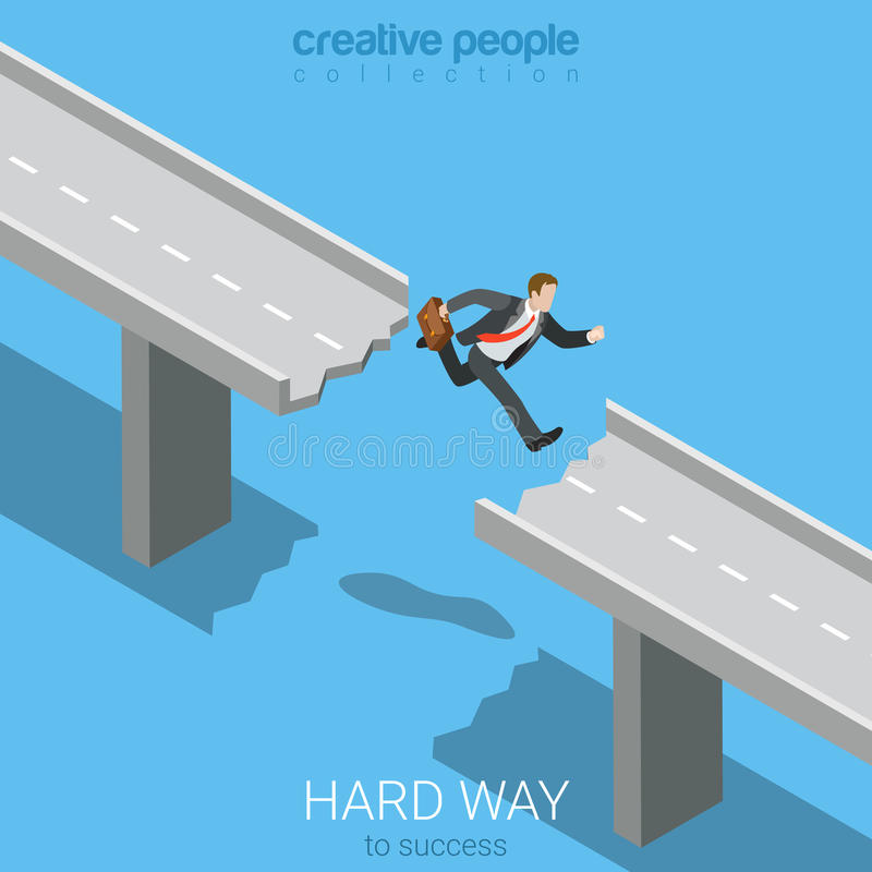 Flat 3d isometric vector way to success businessman jump abyss. Flat 3d isometric style hard way to success business concept web infographics vector illustration royalty free illustration