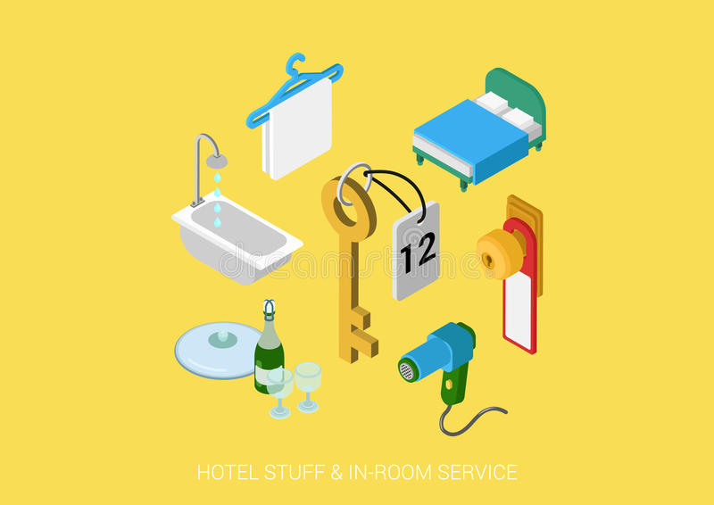 Flat 3d isometric vector web hotel all inclusive room service royalty free illustration