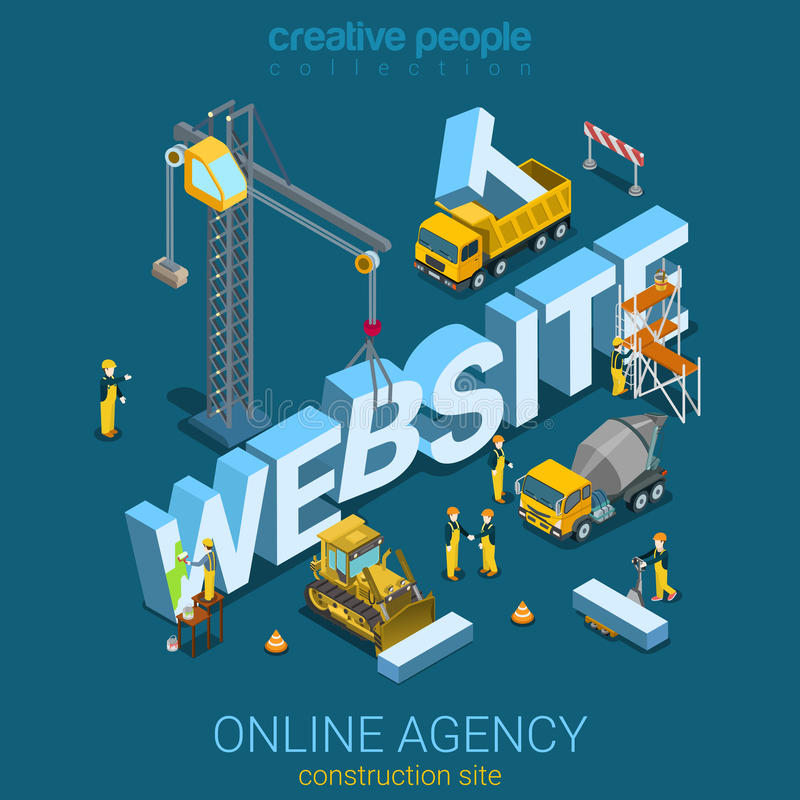 Flat 3d isometric vector website building construction site stock illustration