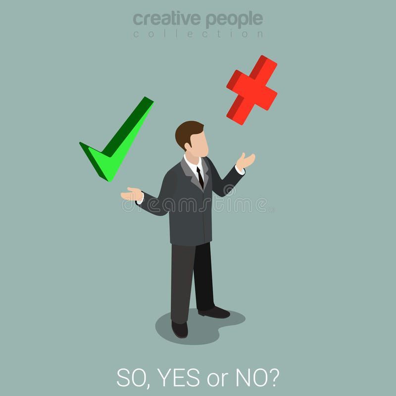 Flat 3d isometric vector yes or no choice business check mark stock illustration