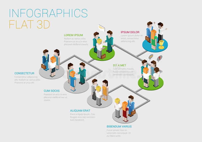 Flat 3d isometric web infographic organization chart concept. Flat 3d isometric infographic concept of company corporate department team diagram structure web royalty free illustration