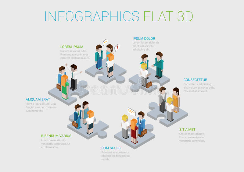 Flat 3d Isometric Web Infographic Teamwork Collaboration Concept ...