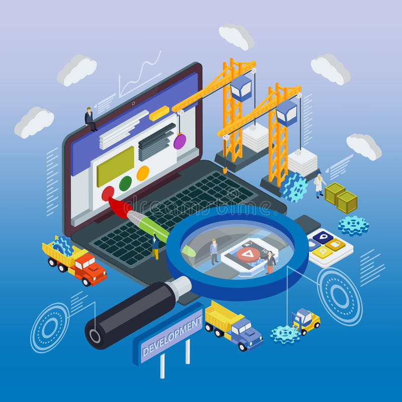 Flat 3d laptop and smart watches vector illustration