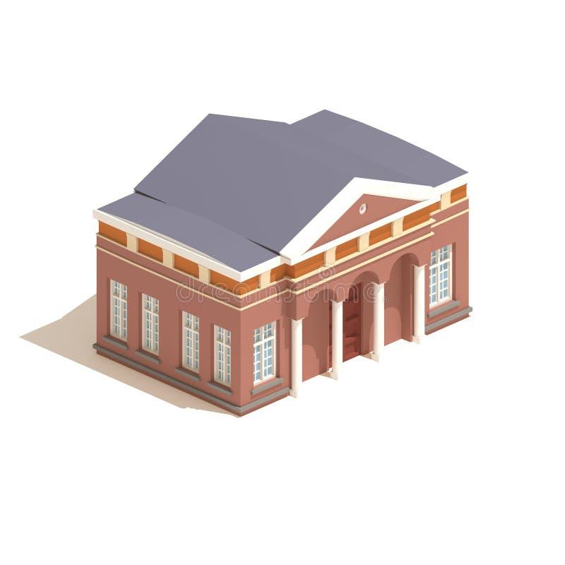 3d model isometric city hall or university building illustration isolated on white background. vector illustration