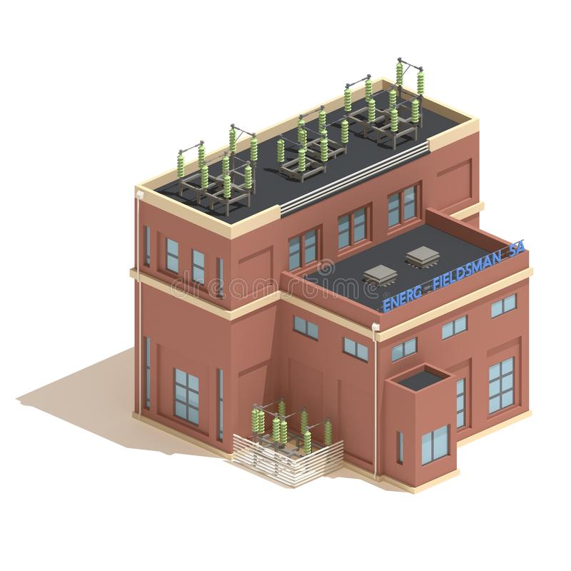 Flat 3d model isometric power station industry illustration isolated on white background. Flat 3d model isometric red brick power station industry illustration stock illustration