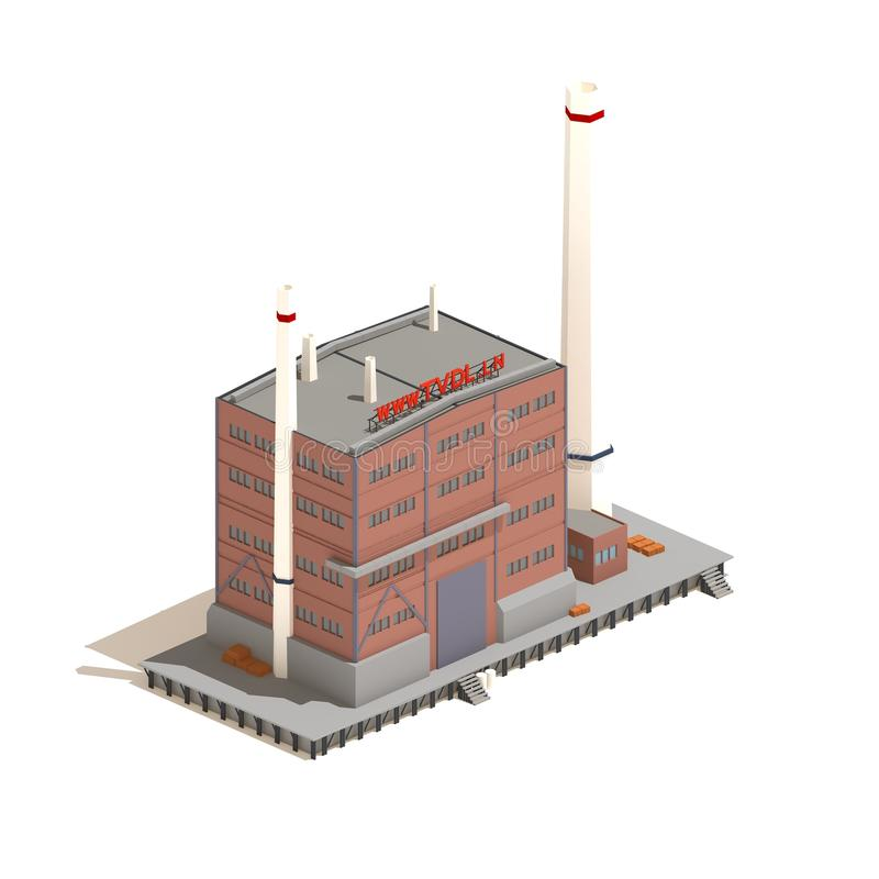 Flat 3d model isometric red brick factory building illustration isolated on white background. Flat 3d model isometric red brick industry or factory building royalty free illustration