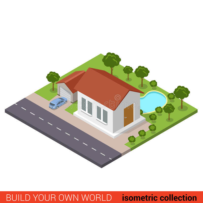 Flat 3d vector isometric suburb house garage backyard pool. Flat 3d isometric suburb family house garage parking backyard pool park modern building block info royalty free illustration