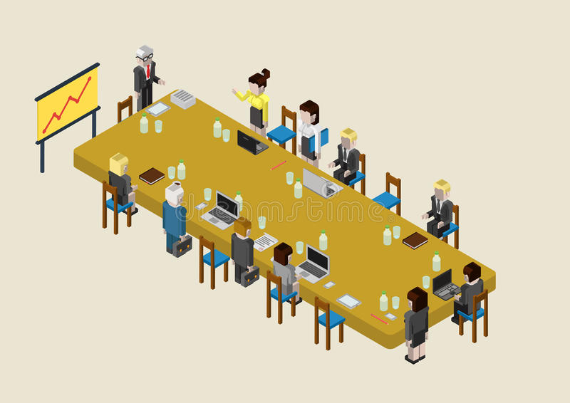 Flat 3d web isometric business meeting, skull session, council. Flat 3d isometric business meeting, skull session, council, presentation, get-together, palaver royalty free illustration