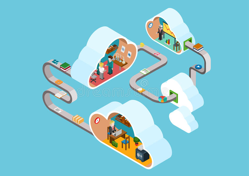 Flat 3d web isometric cloud office infographic concept stock illustration