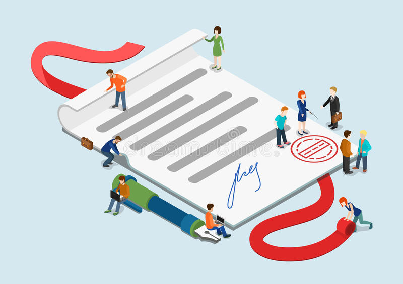 Flat D Web Isometric Contract Mini People Infographic Concept
