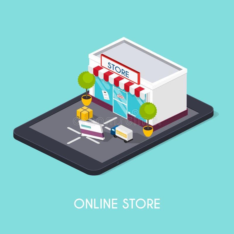 Flat 3d web isometric online shopping. E-commerce, electronic bu vector illustration