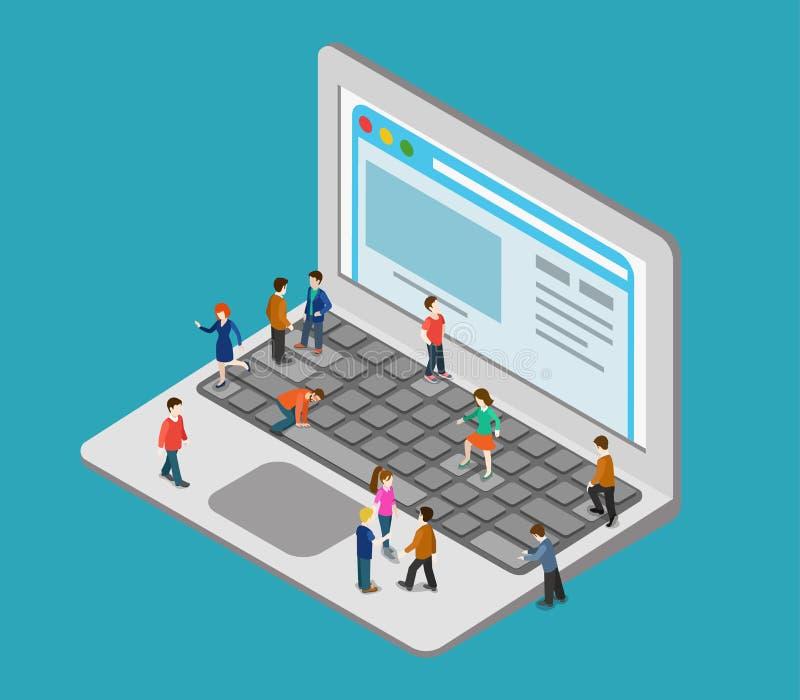 Flat 3d web isometric people oversize laptop infographic concept stock illustration