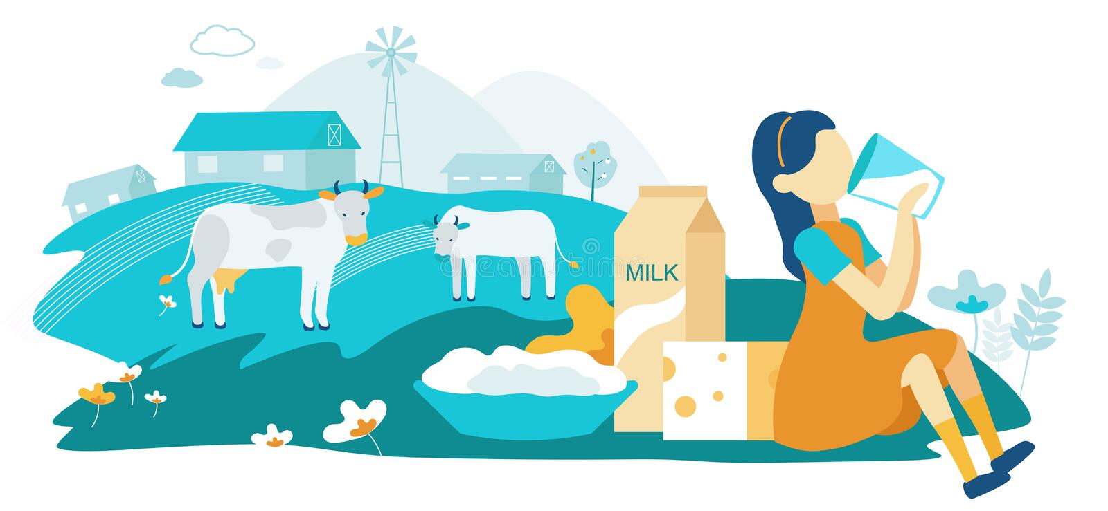 Flat Dairy Cow Family Farm Vector Illustration. stock illustration