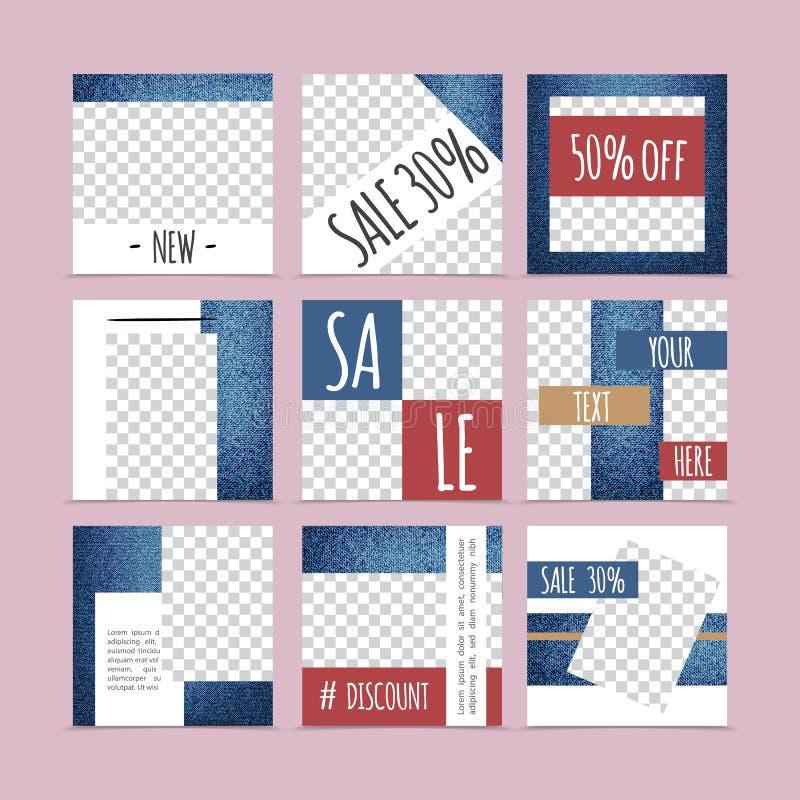 Flat Denim Advertising Cards Composition stock illustration