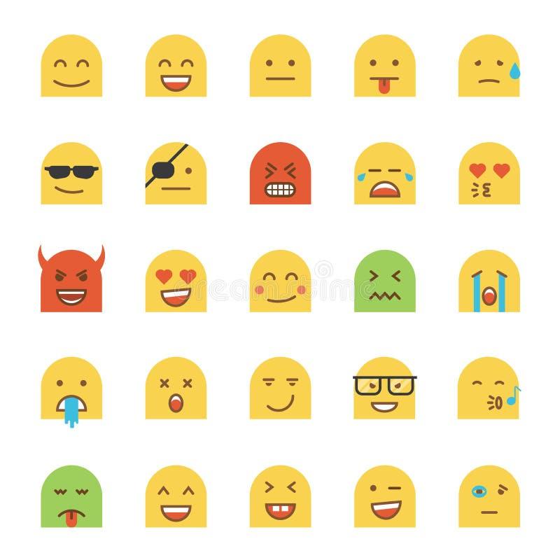 Flat Desig Emoji. Set of Flat Design Emoji on white background. Vector Illustration royalty free illustration