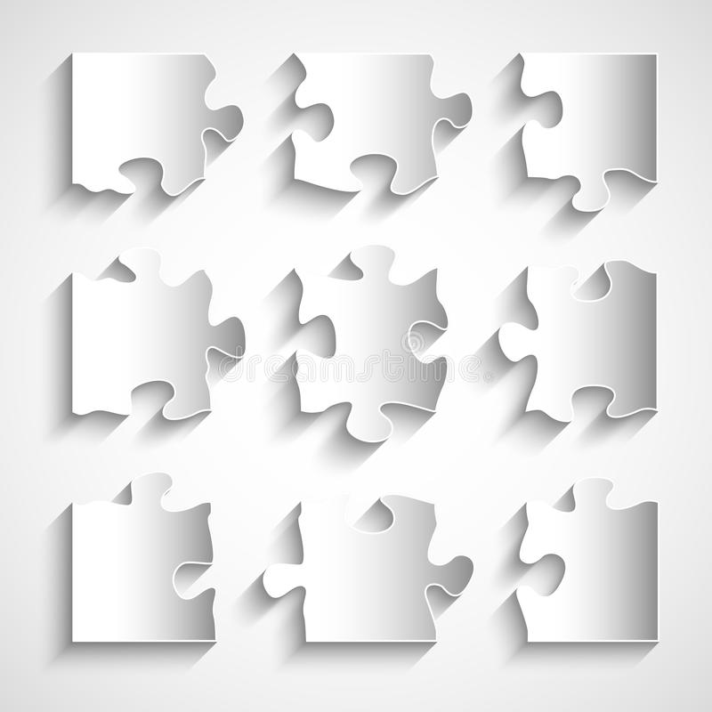Download Flat Design 9 Piece Puzzle Template Stock Vector