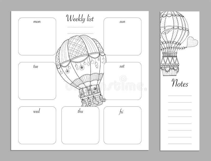 Flat design adult coloring page, notes, weekly and to do list in top view. Sketchbook, coloring book, diary or bullet journal royalty free illustration