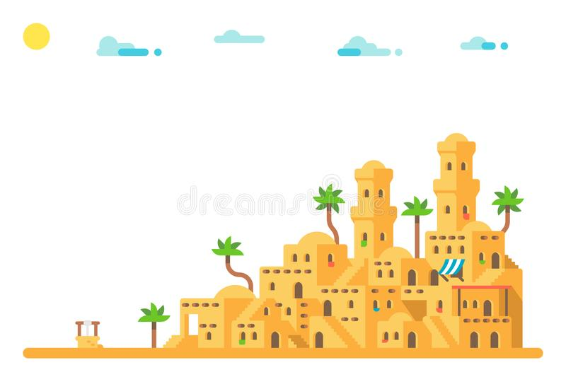 Flat design Ancient mud houses background. Illustration royalty free illustration