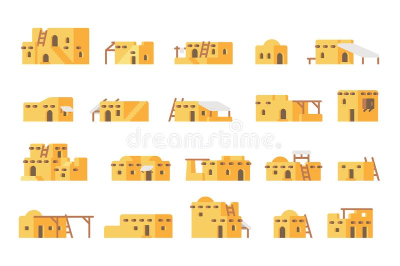 Flat design arab mud house set. Illustration vector vector illustration