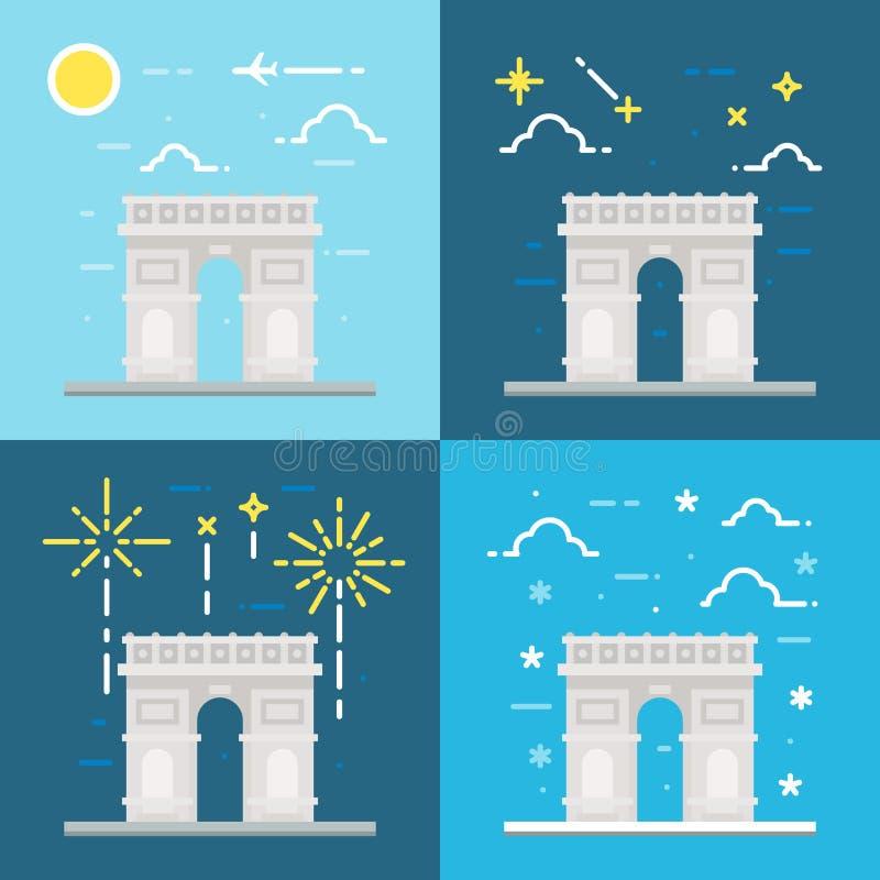 Flat design of Arc de Triomphe France. Illustration vector vector illustration