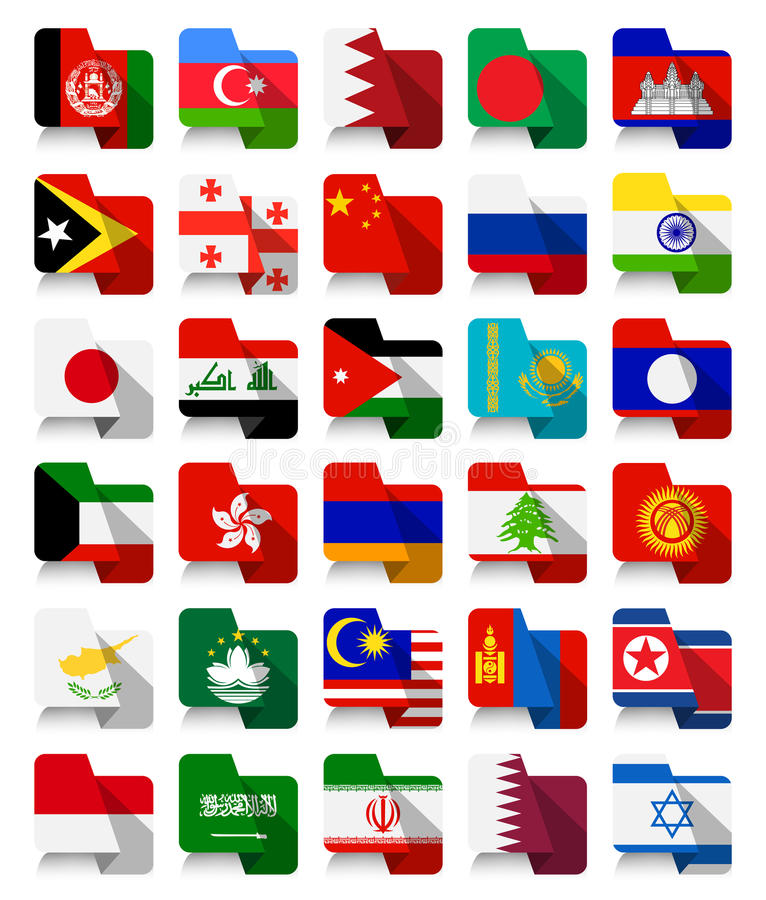 Flat Design Asian Waving Flags. All elements are separated in editable layers clearly labeled stock illustration