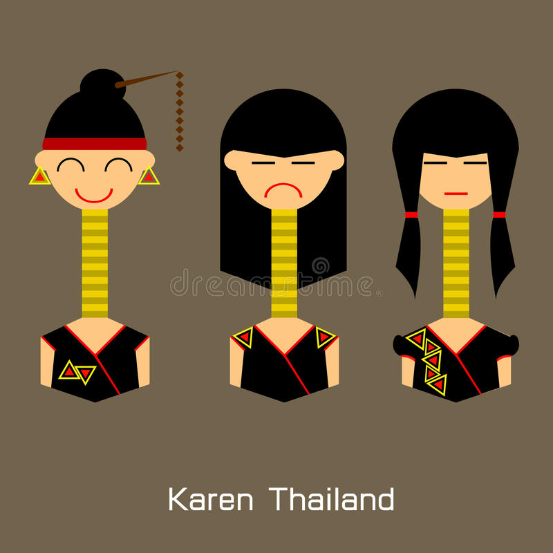The Flat design avatar Thai women . Vector Illustration Design stock illustration