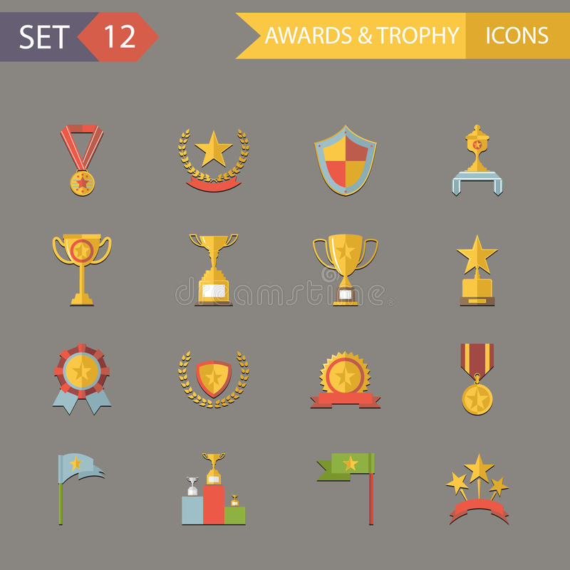 Download Flat Design Awards Symbols And Trophy Icons Stock Vector - Image: 40254788