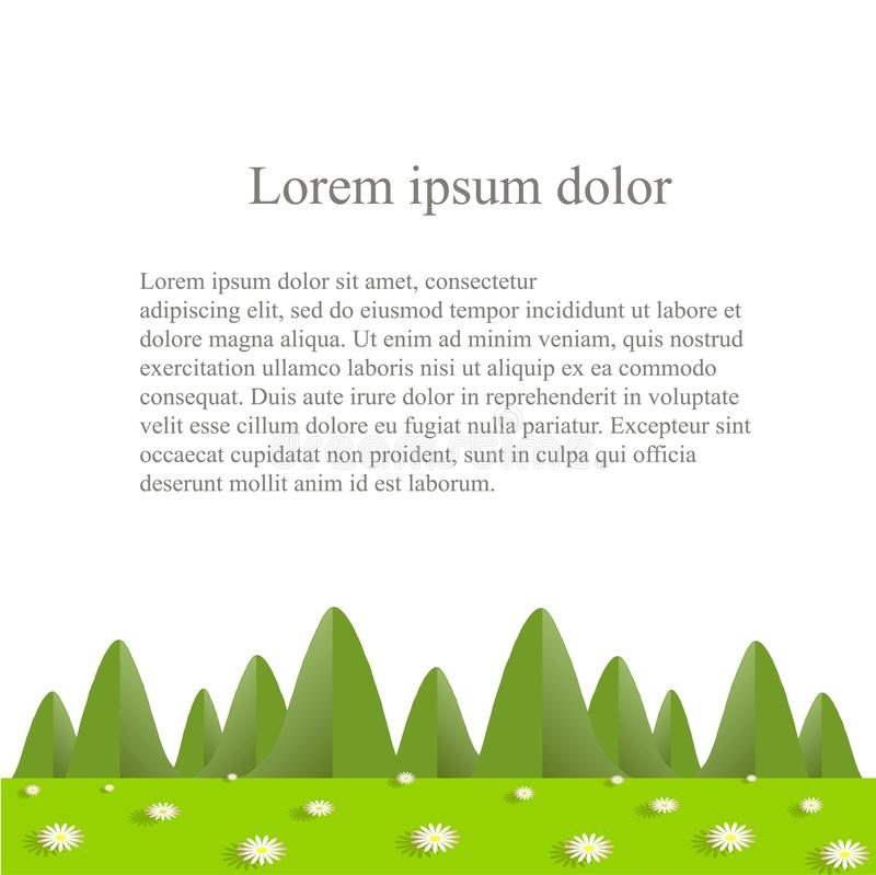 Flat design background with green mountains, hills, valley, blooming daisies on white, Lorem ipsum royalty free illustration