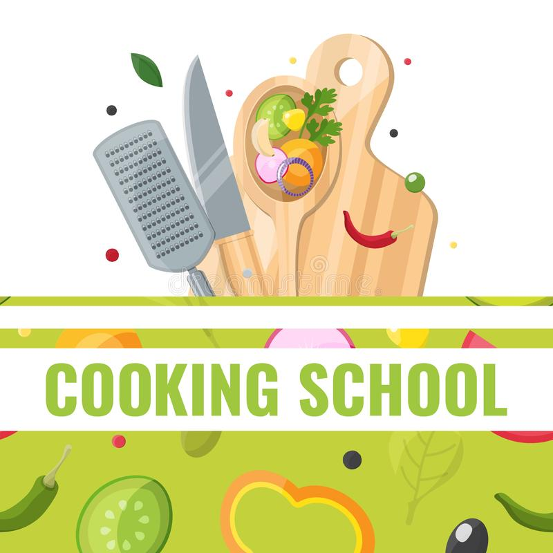 Flat design banner of Cooking school with cooking tools vector illustration