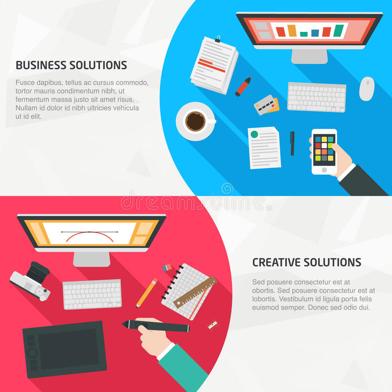Flat Design Banners for business and creativity vector illustration