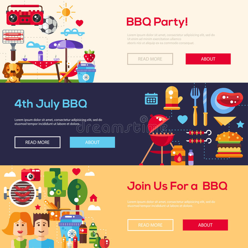 Flat design barbecue and summer picnic banners set royalty free illustration