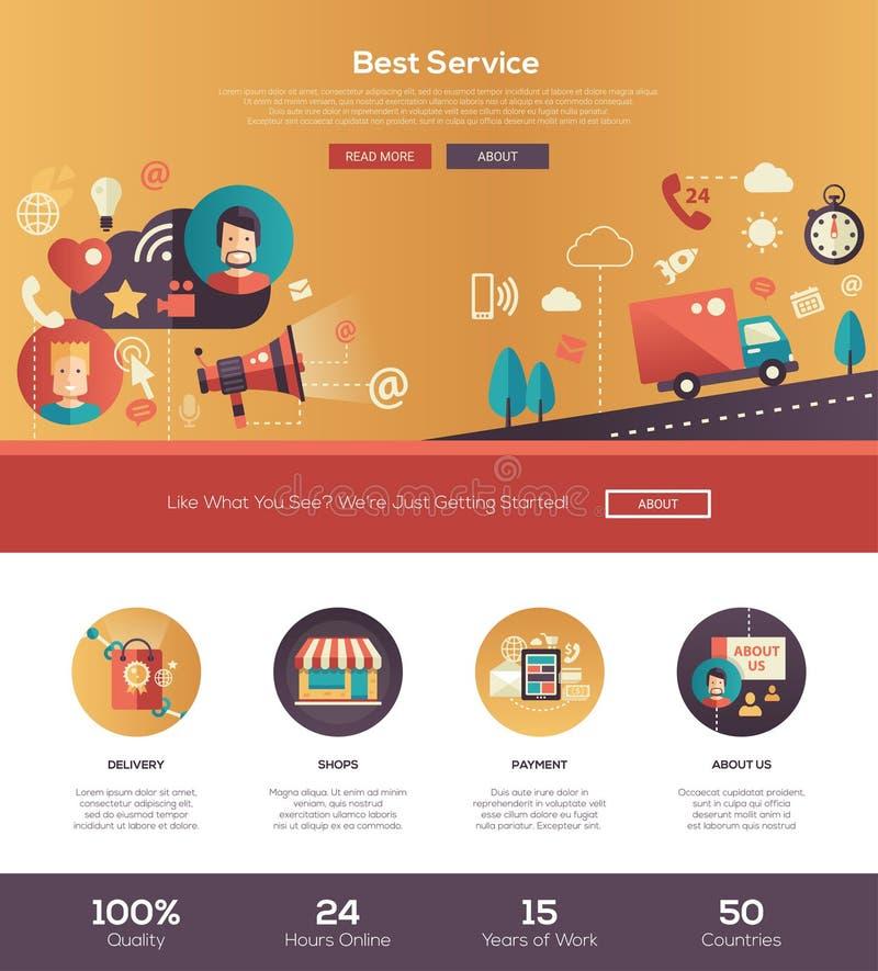 flat design best service website header banner with webdesign elements stock vector. Black Bedroom Furniture Sets. Home Design Ideas