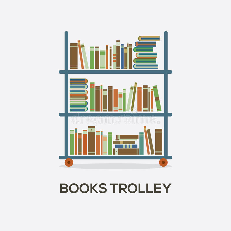 Flat Design Books Trolley vector illustration