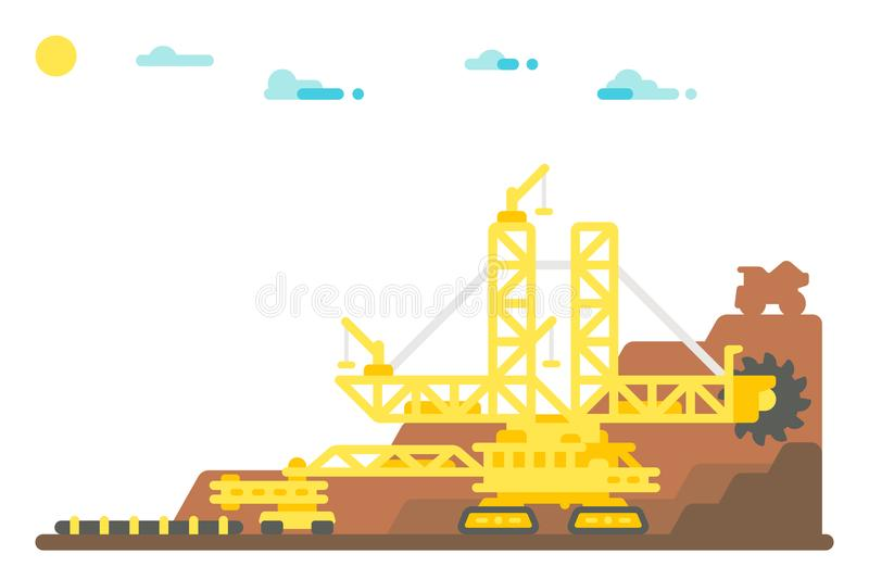 Flat design bucket wheel excavator mining background. Illustration vector illustration