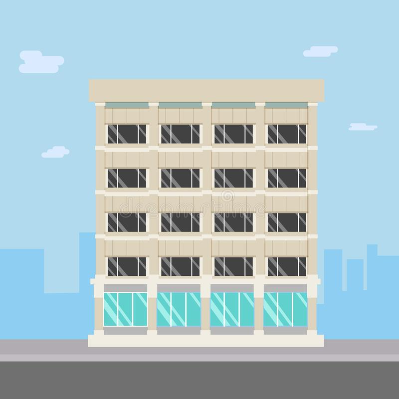 Flat design building with cityscape.Compadny on main street. In town stock illustration