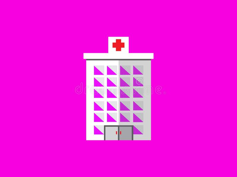 Flat design building. Hospital pink cool beautiful health simpel simple modern stock photography