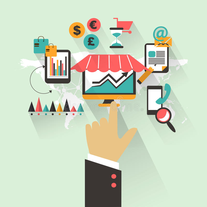 Flat design. Business concept with hand. Marketing infographic stock illustration