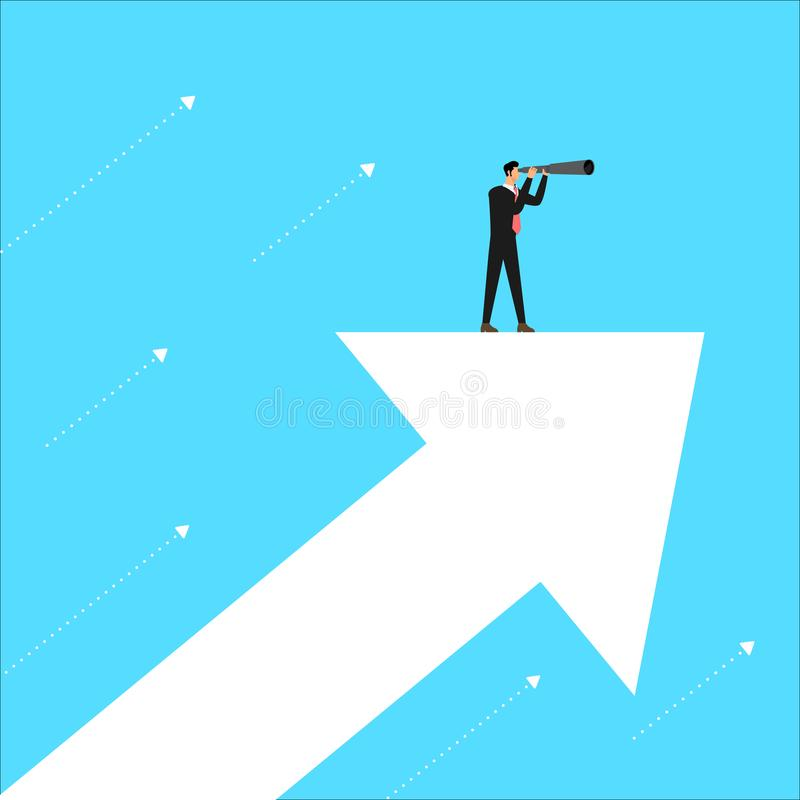 Flat design business concept leader stand looking vision for bus royalty free illustration