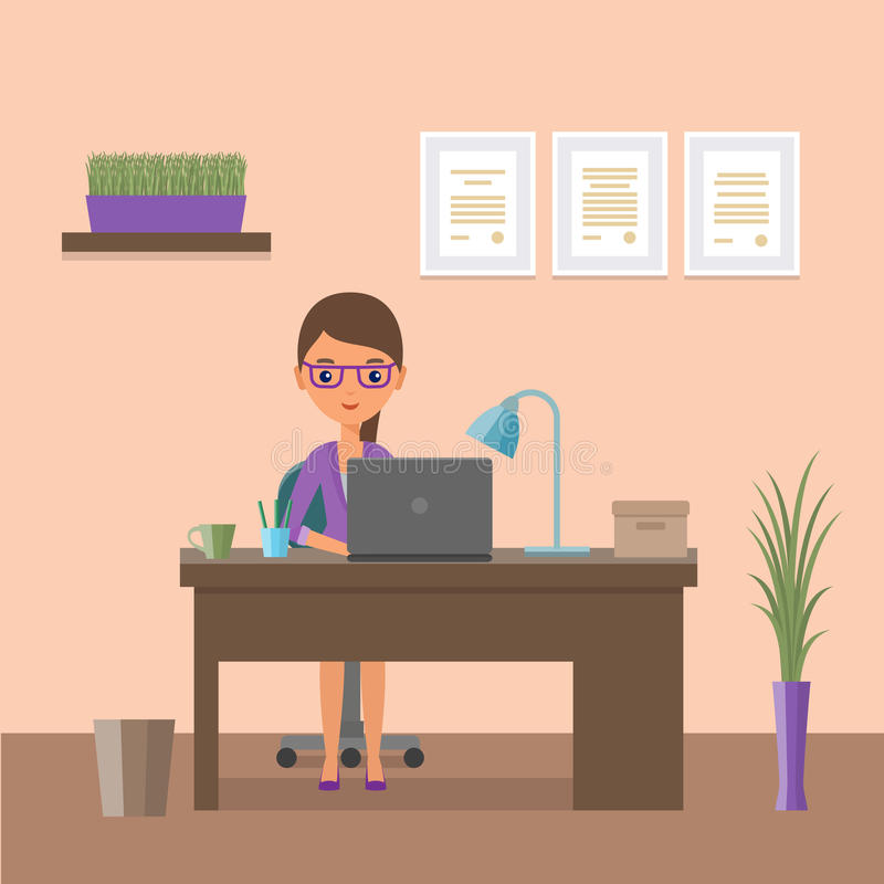 Flat design business female character and workplace. Vector illustration. vector illustration