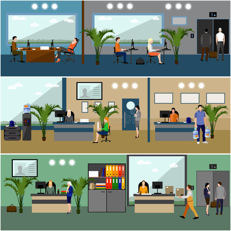Flat Design Interior Dining Room Vector Illustration Stock: Flat Design Of Business People Or Office Workers. Company