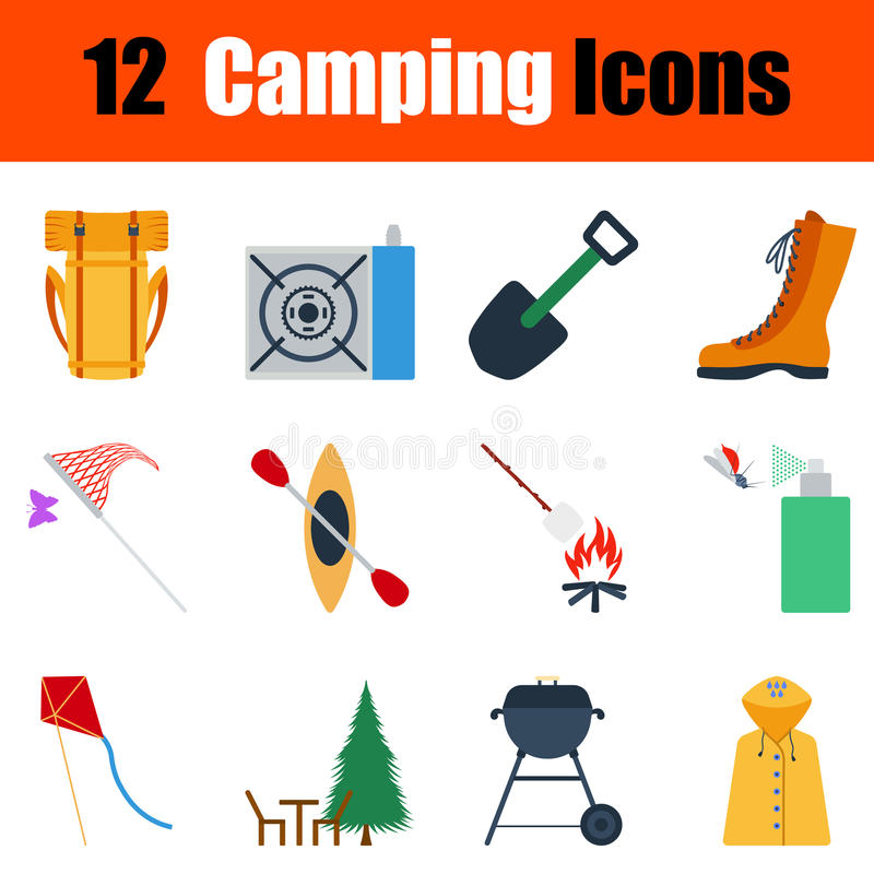 Flat design camping icon set stock illustration