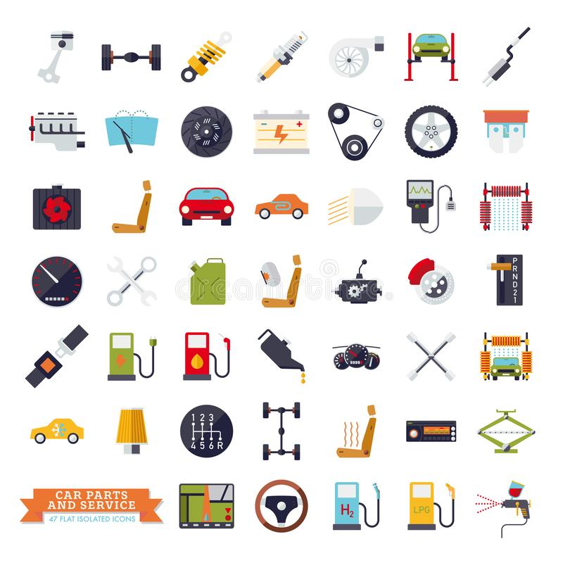 Flat design car parts, service and repair icons. Isolated automotive vector symbols set vector illustration