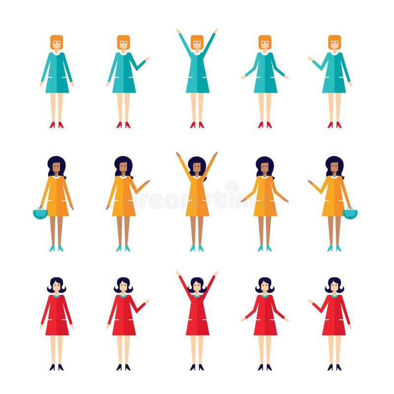 Flat design cartoon character set Housewife Stylish woman 60s style. Vector illustration vector illustration