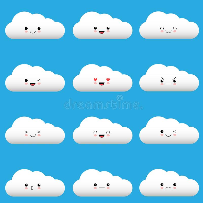 Flat design cartoon cute cloud character with different facial expressions, emotions. Set, collection of emoji on blue vector illustration